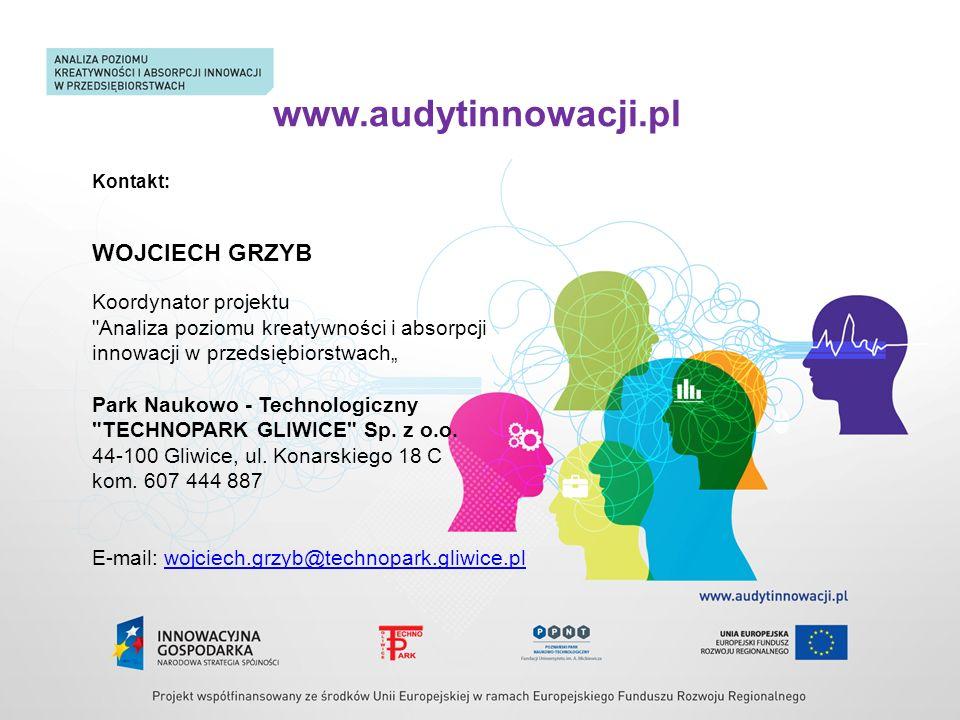www.audytinnowacji.pl Kontakt: WOJCIECH GRZYB Koordynator projektu