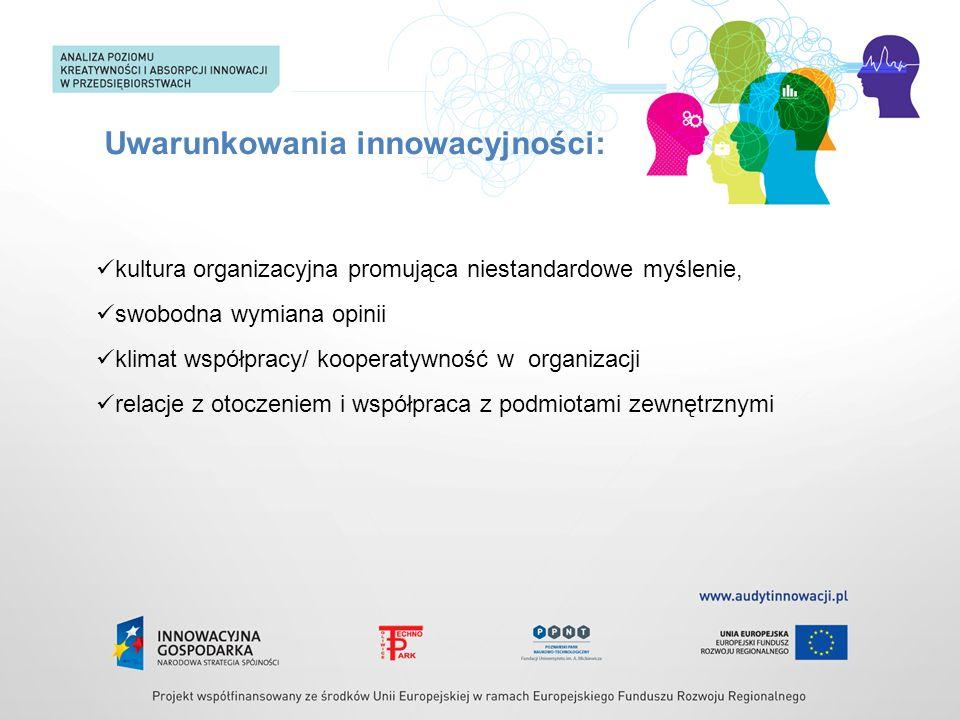 Uwarunkowania innowacyjności: kultura organizacyjna promująca niestandardowe myślenie, swobodna wymiana opinii klimat współpracy/ kooperatywność w org