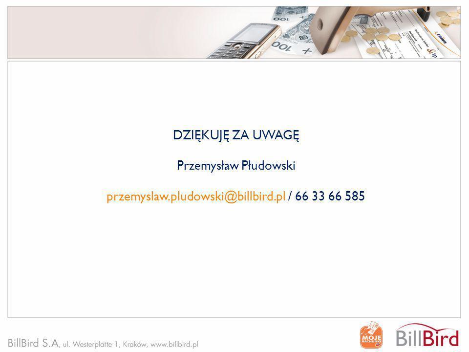 DZIĘKUJĘ ZA UWAGĘ Przemysław Płudowski przemyslaw.pludowski@billbird.pl / 66 33 66 585