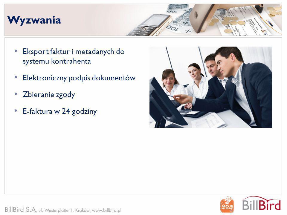 Wyzwania Eksport faktur i metadanych do systemu kontrahenta Elektroniczny podpis dokumentów Zbieranie zgody E-faktura w 24 godziny