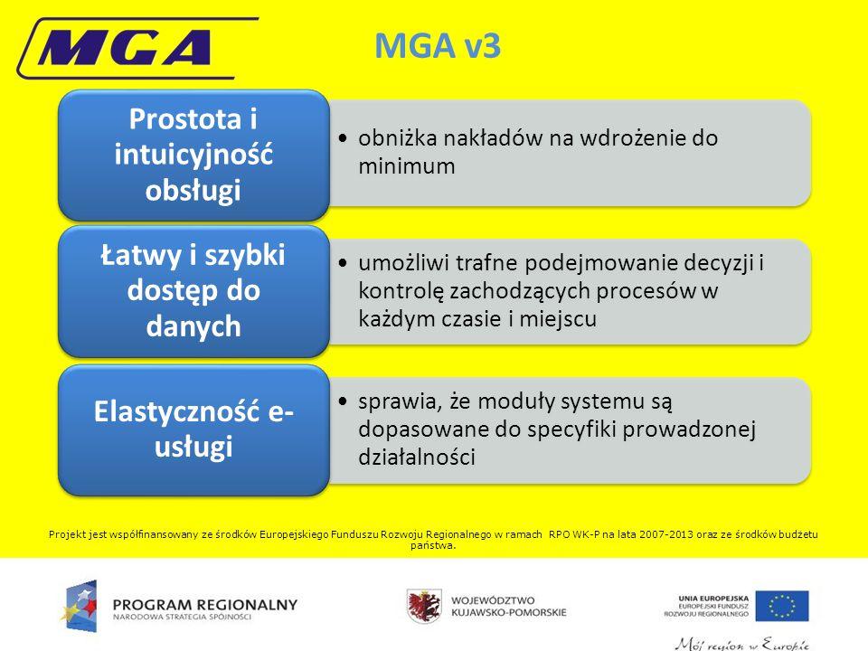 obniżka nakładów na wdrożenie do minimum Prostota i intuicyjność obsługi umożliwi trafne podejmowanie decyzji i kontrolę zachodzących procesów w każdym czasie i miejscu Łatwy i szybki dostęp do danych sprawia, że moduły systemu są dopasowane do specyfiki prowadzonej działalności Elastyczność e- usługi MGA v3 Projekt jest współfinansowany ze środków Europejskiego Funduszu Rozwoju Regionalnego w ramach RPO WK-P na lata 2007-2013 oraz ze środków budżetu państwa.