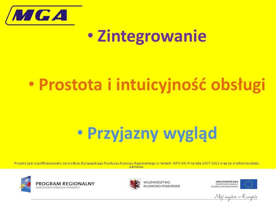 Zintegrowanie Prostota i intuicyjność obsługi Przyjazny wygląd Projekt jest współfinansowany ze środków Europejskiego Funduszu Rozwoju Regionalnego w ramach RPO WK-P na lata 2007-2013 oraz ze środków budżetu państwa.