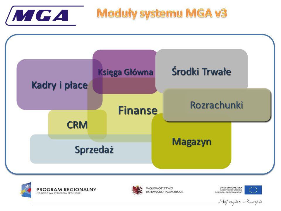 Finanse CRM Księga Główna Środki Trwałe Kadry i płace Sprzedaż Magazyn RozrachunkiRozrachunki Projekt jest współfinansowany ze środków Europejskiego Funduszu Rozwoju Regionalnego w ramach RPO WK-P na lata 2007-2013 oraz ze środków budżetu państwa.