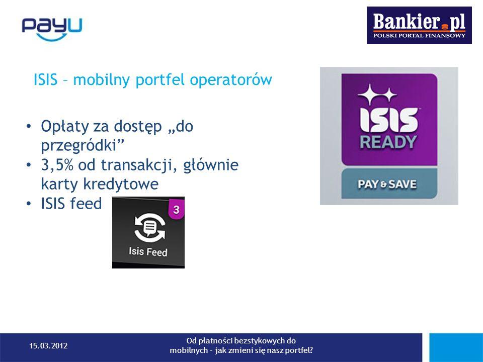 ISIS – mobilny portfel operatorów Opłaty za dostęp do przegródki 3,5% od transakcji, głównie karty kredytowe ISIS feed 15.03.2012 Od płatności bezstyk