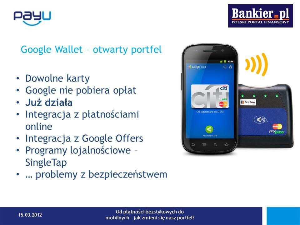Google Wallet – otwarty portfel Dowolne karty Google nie pobiera opłat Już działa Integracja z płatnościami online Integracja z Google Offers Programy