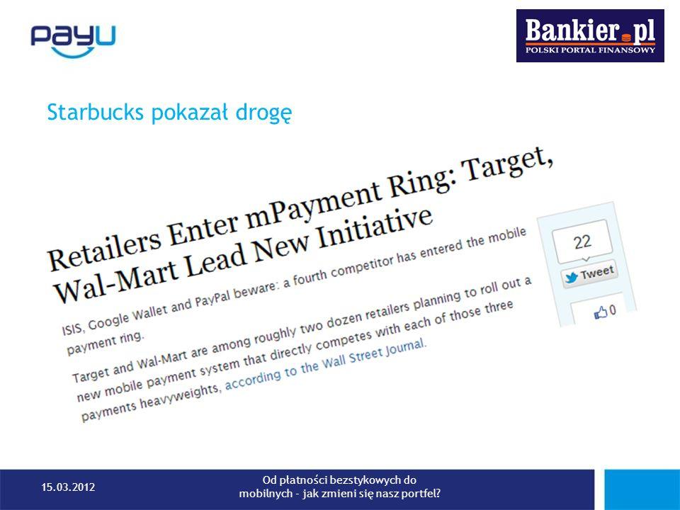 Starbucks pokazał drogę 15.03.2012 Od płatności bezstykowych do mobilnych - jak zmieni się nasz portfel?