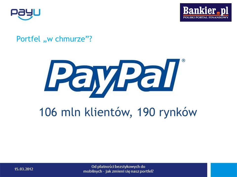Portfel w chmurze? 106 mln klientów, 190 rynków 15.03.2012 Od płatności bezstykowych do mobilnych - jak zmieni się nasz portfel?