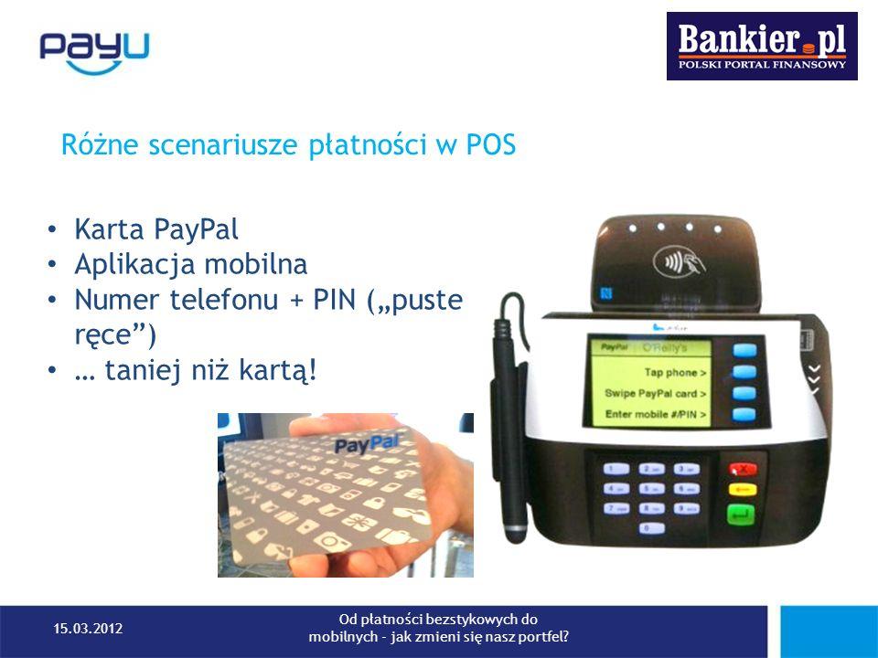 Różne scenariusze płatności w POS Karta PayPal Aplikacja mobilna Numer telefonu + PIN (puste ręce) … taniej niż kartą! 15.03.2012 Od płatności bezstyk