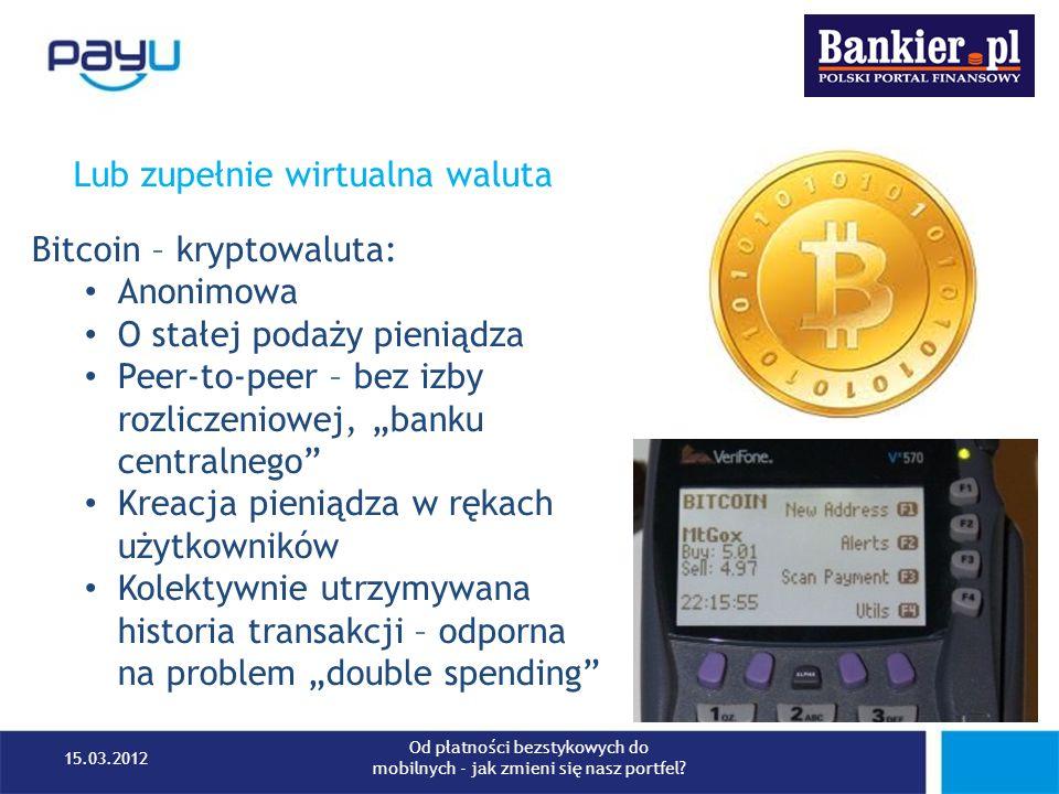 Lub zupełnie wirtualna waluta Bitcoin – kryptowaluta: Anonimowa O stałej podaży pieniądza Peer-to-peer – bez izby rozliczeniowej, banku centralnego Kr