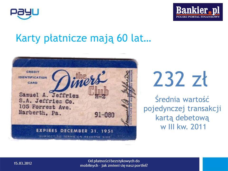 Karty płatnicze mają 60 lat… 232 zł Średnia wartość pojedynczej transakcji kartą debetową w III kw. 2011 15.03.2012 Od płatności bezstykowych do mobil