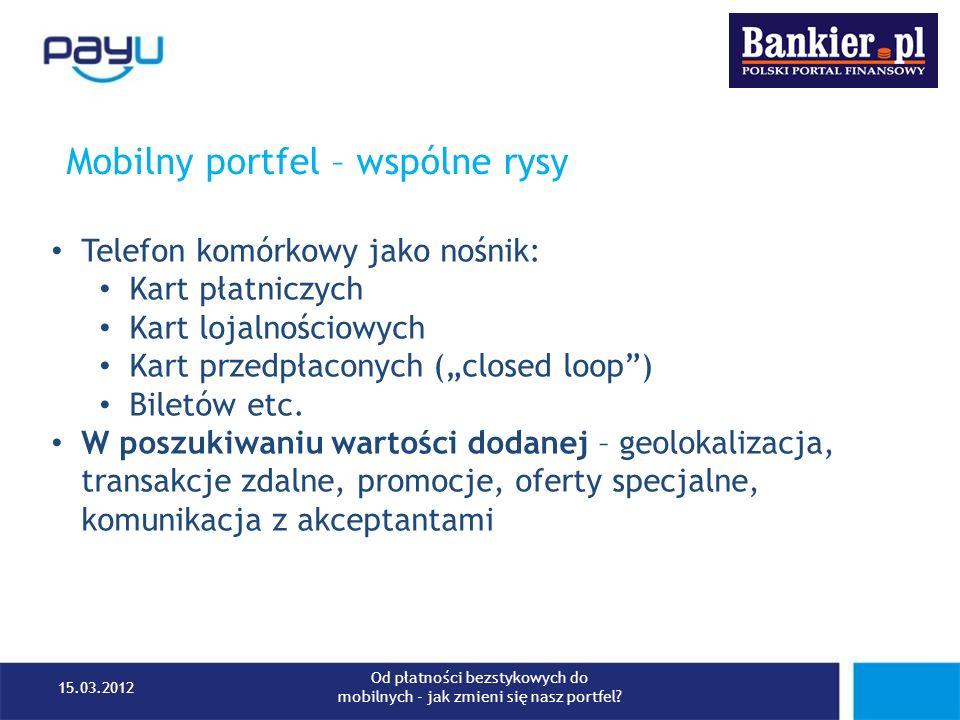 Mobilny portfel – wojna standardów 15.03.2012 Od płatności bezstykowych do mobilnych - jak zmieni się nasz portfel?
