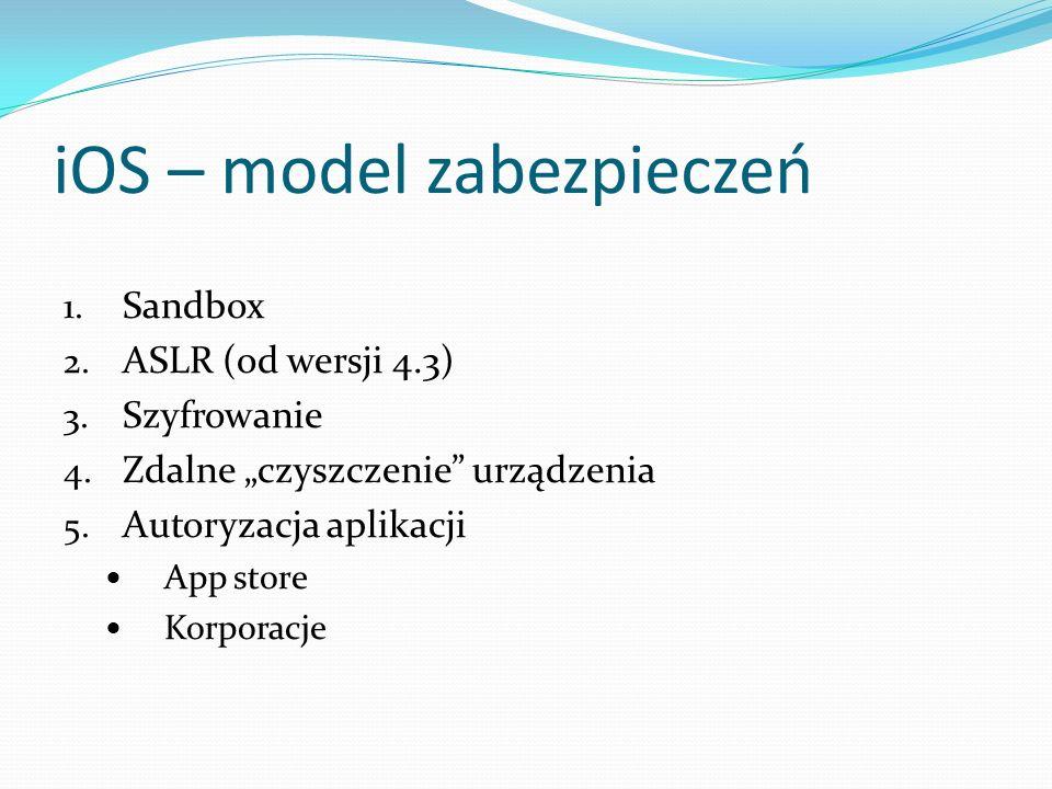iOS – model zabezpieczeń 1. Sandbox 2. ASLR (od wersji 4.3) 3. Szyfrowanie 4. Zdalne czyszczenie urządzenia 5. Autoryzacja aplikacji App store Korpora