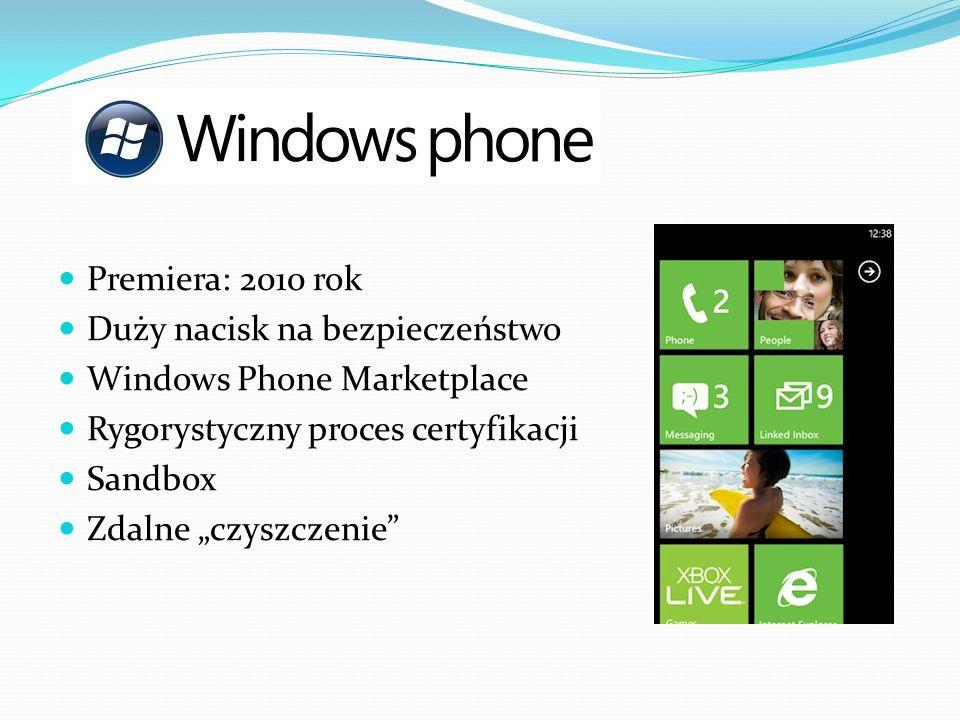 Premiera: 2010 rok Duży nacisk na bezpieczeństwo Windows Phone Marketplace Rygorystyczny proces certyfikacji Sandbox Zdalne czyszczenie