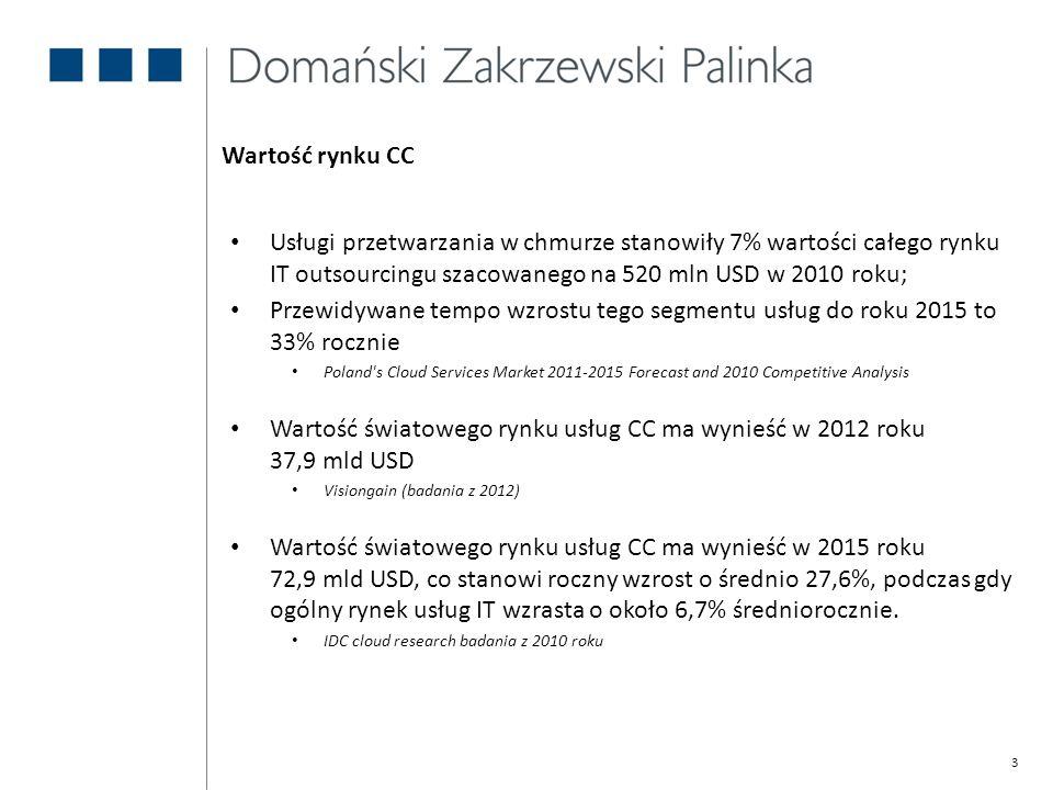 3 Usługi przetwarzania w chmurze stanowiły 7% wartości całego rynku IT outsourcingu szacowanego na 520 mln USD w 2010 roku; Przewidywane tempo wzrostu