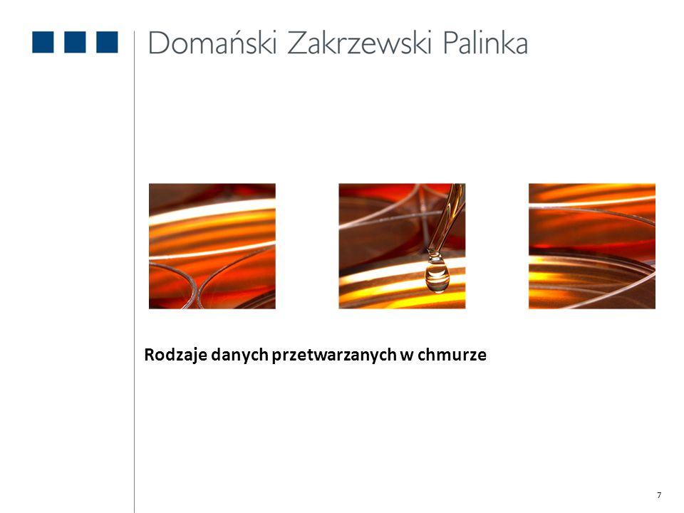 8 Rodzaje danych przetwarzanych w chmurze (1) Dane przetwarzane w chmurze, jak wszelkie dane, informacje, oraz inna treść, może podlegać ochronie prawnej na różnych podstawach, np.