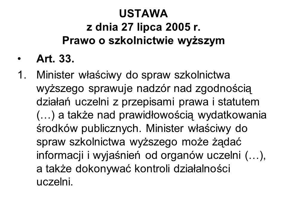 USTAWA z dnia 27 lipca 2005 r. Prawo o szkolnictwie wyższym Art. 33. 1.Minister właściwy do spraw szkolnictwa wyższego sprawuje nadzór nad zgodnością