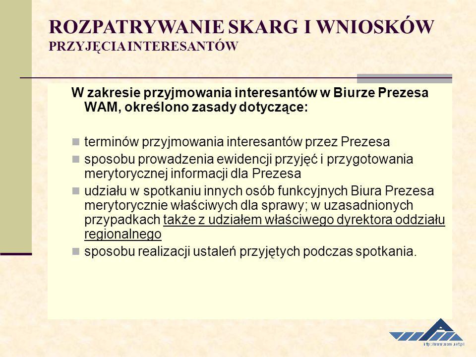W zakresie przyjmowania interesantów w Biurze Prezesa WAM, określono zasady dotyczące: terminów przyjmowania interesantów przez Prezesa sposobu prowad
