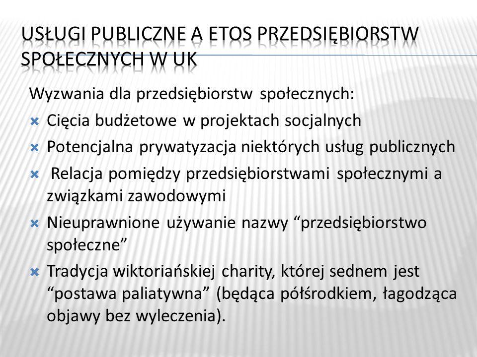 Wyzwania dla przedsiębiorstw społecznych: Cięcia budżetowe w projektach socjalnych Potencjalna prywatyzacja niektórych usług publicznych Relacja pomię