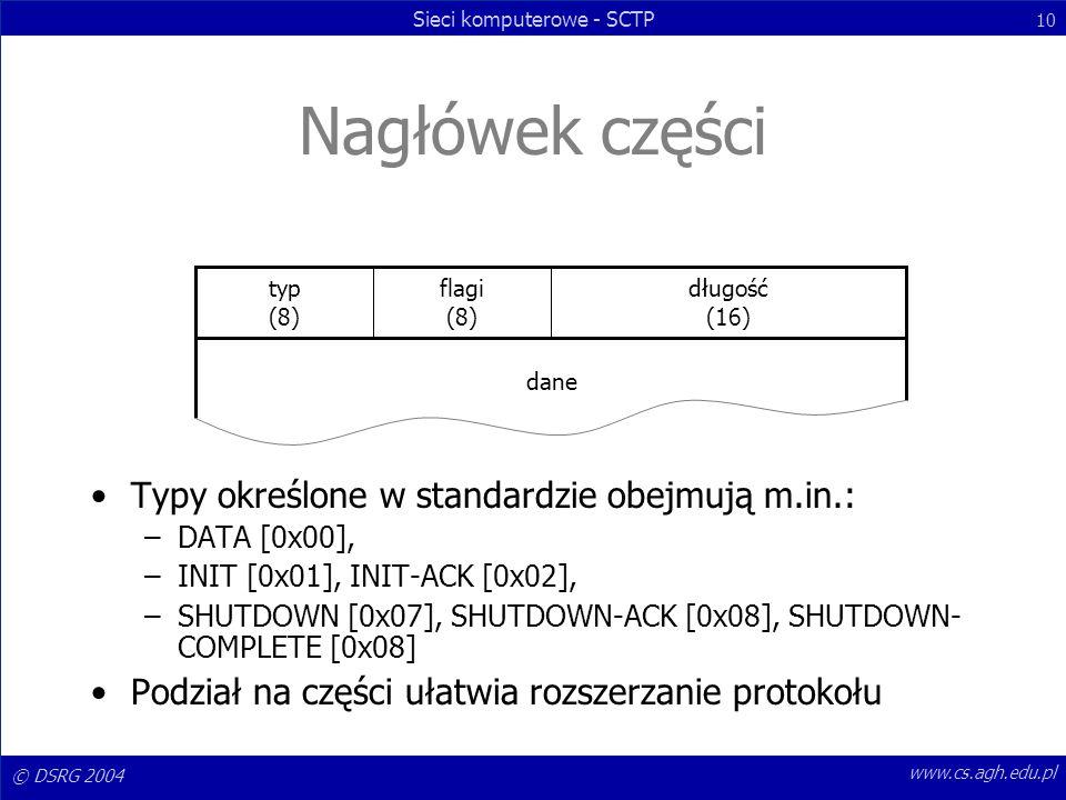 © DSRG 2004 Sieci komputerowe - SCTP 10 www.cs.agh.edu.pl Nagłówek części Typy określone w standardzie obejmują m.in.: –DATA [0x00], –INIT [0x01], INI