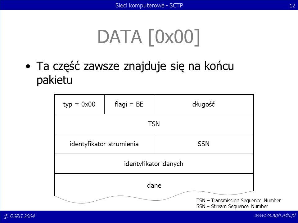 © DSRG 2004 Sieci komputerowe - SCTP 12 www.cs.agh.edu.pl DATA [0x00] Ta część zawsze znajduje się na końcu pakietu typ = 0x00flagi = BEdługość TSN id