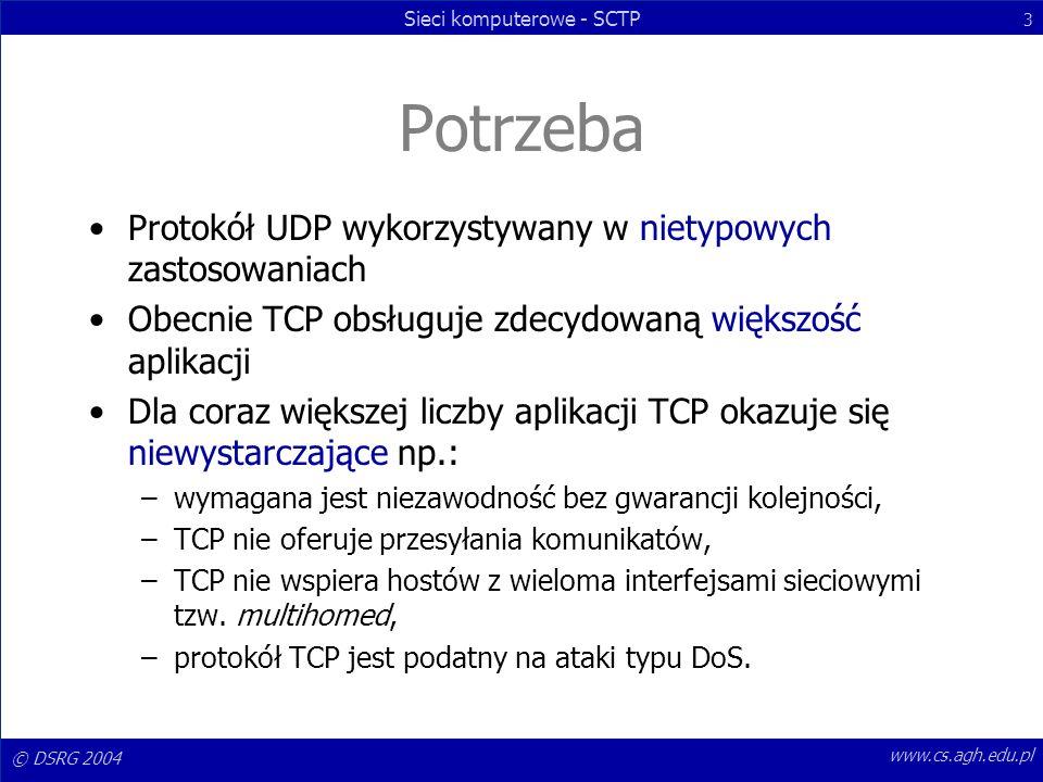 © DSRG 2004 Sieci komputerowe - SCTP 3 www.cs.agh.edu.pl Potrzeba Protokół UDP wykorzystywany w nietypowych zastosowaniach Obecnie TCP obsługuje zdecy