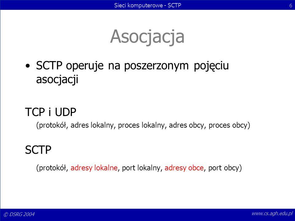 © DSRG 2004 Sieci komputerowe - SCTP 6 www.cs.agh.edu.pl Asocjacja SCTP operuje na poszerzonym pojęciu asocjacji TCP i UDP (protokół, adres lokalny, p