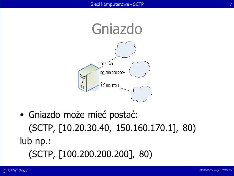 © DSRG 2004 Sieci komputerowe - SCTP 7 www.cs.agh.edu.pl Gniazdo Gniazdo może mieć postać: (SCTP, [10.20.30.40, 150.160.170.1], 80) lub np.: (SCTP, [1