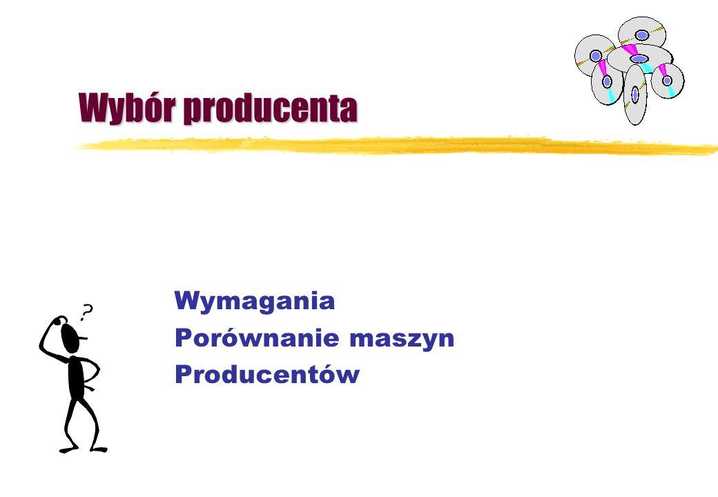Wybór producenta Wymagania Porównanie maszyn Producentów