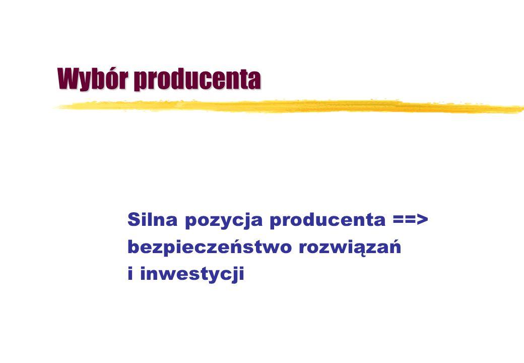 Wybór producenta Silna pozycja producenta ==> bezpieczeństwo rozwiązań i inwestycji