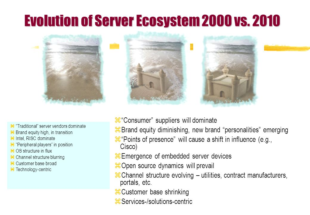zTraditional server vendors dominate zBrand equity high, in transition zIntel, RISC dominate zPeripheral players in position zOS structure in flux zChannel structure blurring zCustomer base broad zTechnology-centric zConsumer suppliers will dominate zBrand equity diminishing, new brand personalities emerging zPoints of presence will cause a shift in influence (e.g., Cisco) zEmergence of embedded server devices zOpen source dynamics will prevail zChannel structure evolving – utilities, contract manufacturers, portals, etc.