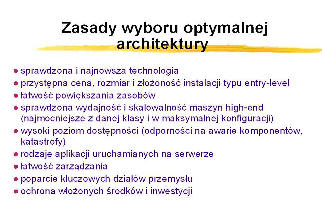 Maszyny, architektura, wydajność zFakty ywyższe ceny w Europie niż w USA ydynamika cen - nowości yceny negocjowane ysilna zależność kosztów od wyposażenia zArchitektura ySMP yklastry HAC złożone z maszyn SMP yelementy RAS zPoziom średni ySUN (E4500, SunFire) yCompaq (ES40) yHP (N4000) yIBM (H80, M80) zPoziom wysoki ySUN (E6500, E10000, SunFire) yCompaq (GS160, GS320) yHP (V2600, SuperDome) yIBM (S80, S85)