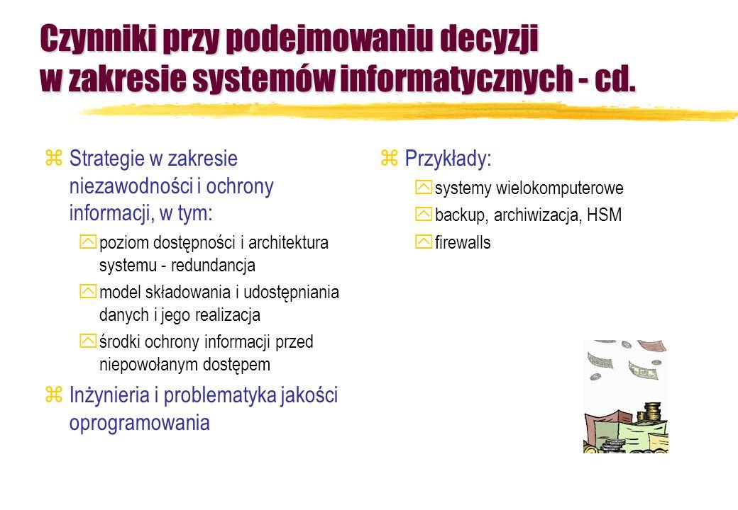 Czynniki przy podejmowaniu decyzji w zakresie systemów informatycznych - cd. zStrategie w zakresie niezawodności i ochrony informacji, w tym: ypoziom