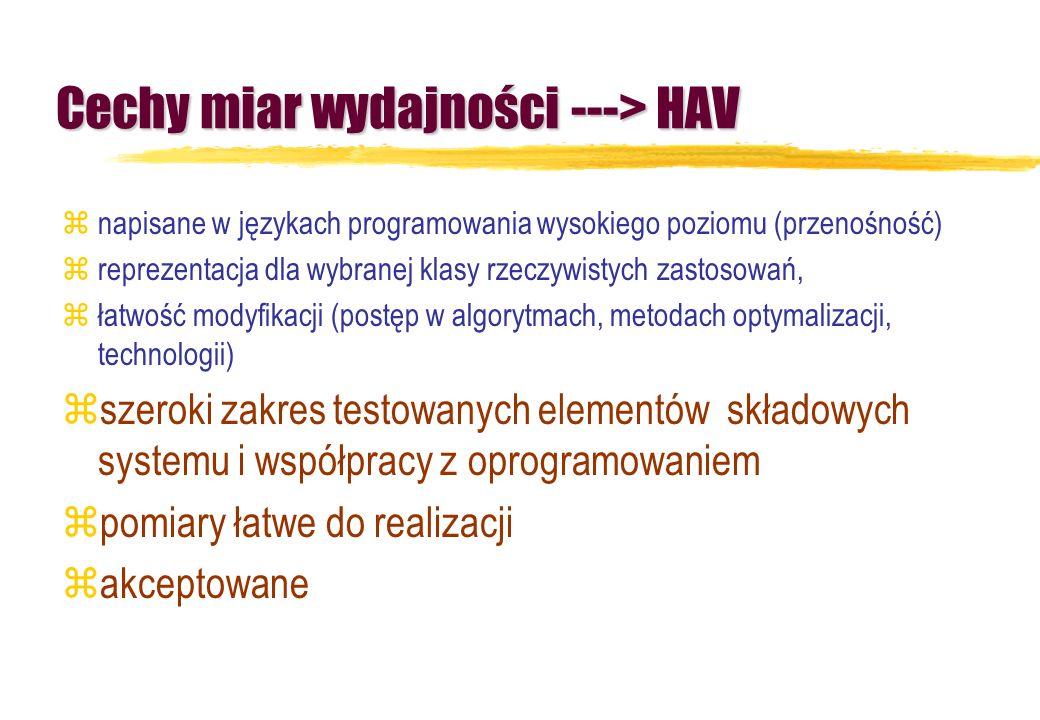 Cechy miar wydajności ---> HAV znapisane w językach programowania wysokiego poziomu (przenośność) zreprezentacja dla wybranej klasy rzeczywistych zast