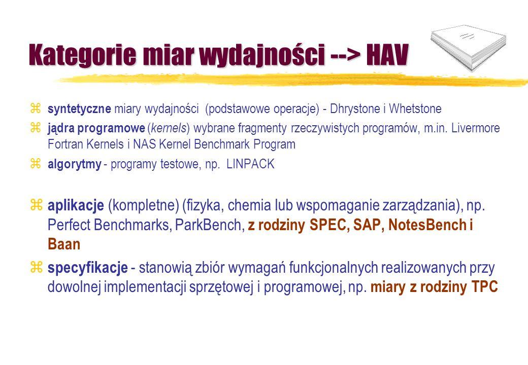 Kategorie miar wydajności --> HAV z syntetyczne miary wydajności (podstawowe operacje) - Dhrystone i Whetstone z jądra programowe ( kernels ) wybrane