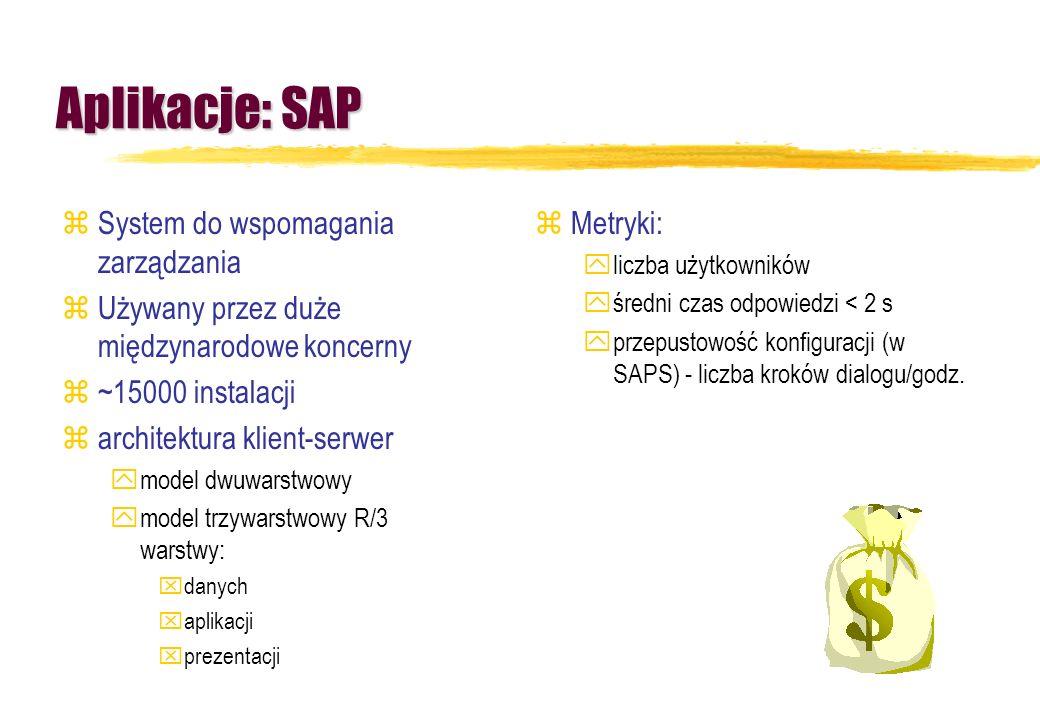 Aplikacje: SAP zSystem do wspomagania zarządzania zUżywany przez duże międzynarodowe koncerny z~15000 instalacji zarchitektura klient-serwer ymodel dw
