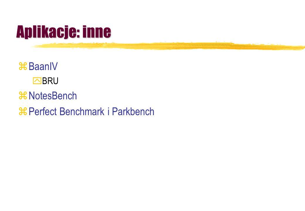 Aplikacje: inne zBaanIV yBRU zNotesBench zPerfect Benchmark i Parkbench