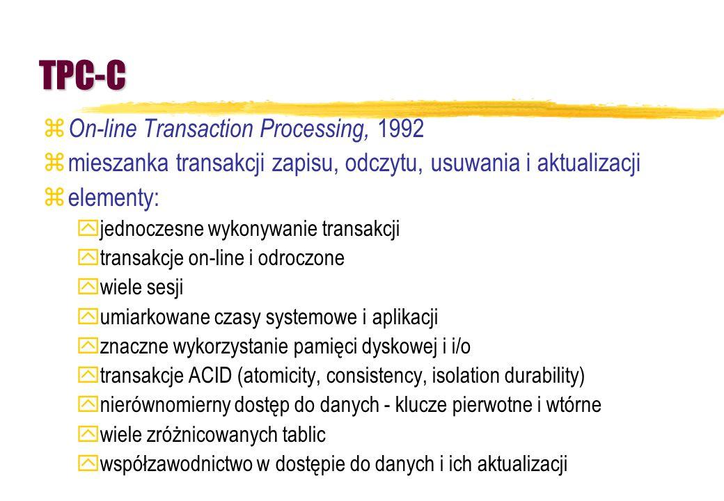 TPC-C z On-line Transaction Processing, 1992 zmieszanka transakcji zapisu, odczytu, usuwania i aktualizacji zelementy: yjednoczesne wykonywanie transa