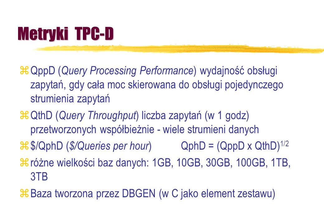 Metryki TPC-D zQppD ( Query Processing Performance ) wydajność obsługi zapytań, gdy cała moc skierowana do obsługi pojedynczego strumienia zapytań zQt