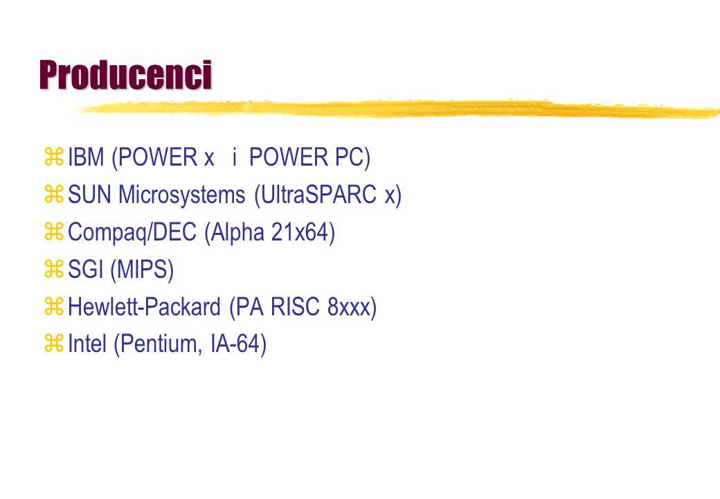 Producenci zIBM (POWER x i POWER PC) zSUN Microsystems (UltraSPARC x) zCompaq/DEC (Alpha 21x64) zSGI (MIPS) zHewlett-Packard (PA RISC 8xxx) zIntel (Pe