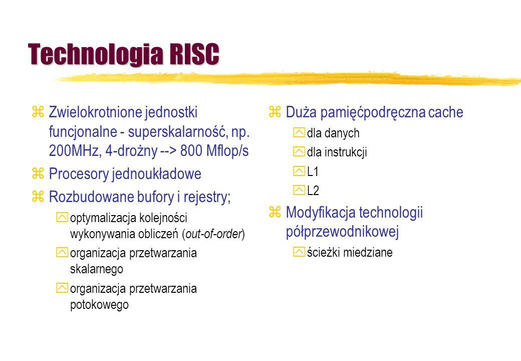 Technologia RISC zZwielokrotnione jednostki funcjonalne - superskalarność, np. 200MHz, 4-drożny --> 800 Mflop/s zProcesory jednoukładowe zRozbudowane