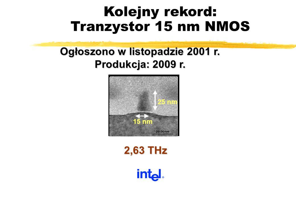 Kolejny rekord: Tranzystor 15 nm NMOS 25 nm 15 nm 2,63 THz 82 Ogłoszono w listopadzie 2001 r. Produkcja: 2009 r.