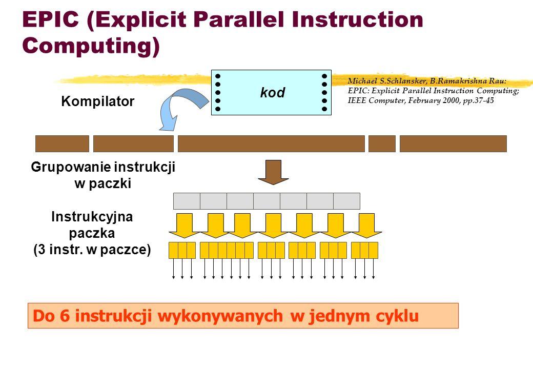 EPIC (Explicit Parallel Instruction Computing) kod Instrukcyjna paczka (3 instr. w paczce) Grupowanie instrukcji w paczki Do 6 instrukcji wykonywanych