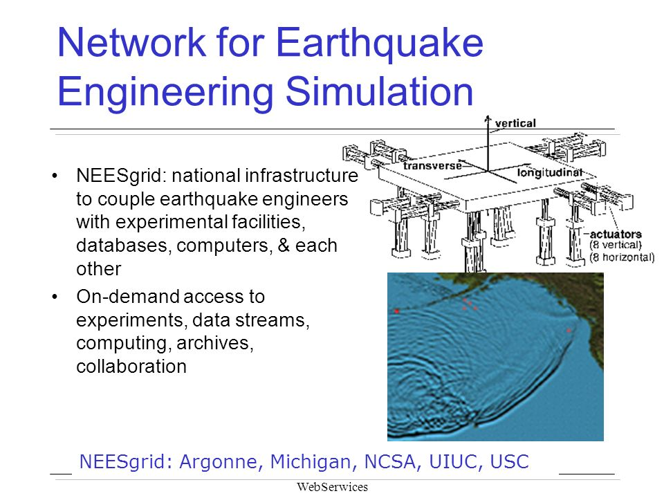 WebSerwices Network for Earthquake Engineering Simulation NEESgrid: national infrastructure to couple earthquake engineers with experimental facilitie