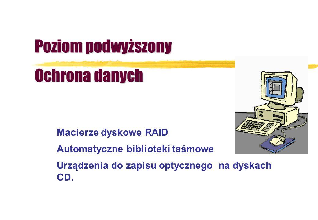Poziom podwyższony Ochrona danych Macierze dyskowe RAID Automatyczne biblioteki taśmowe Urządzenia do zapisu optycznego na dyskach CD.