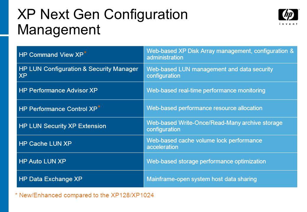 XP Next Gen Configuration Management HP Command View XP * Web-based XP Disk Array management, configuration & administration HP LUN Configuration & Se