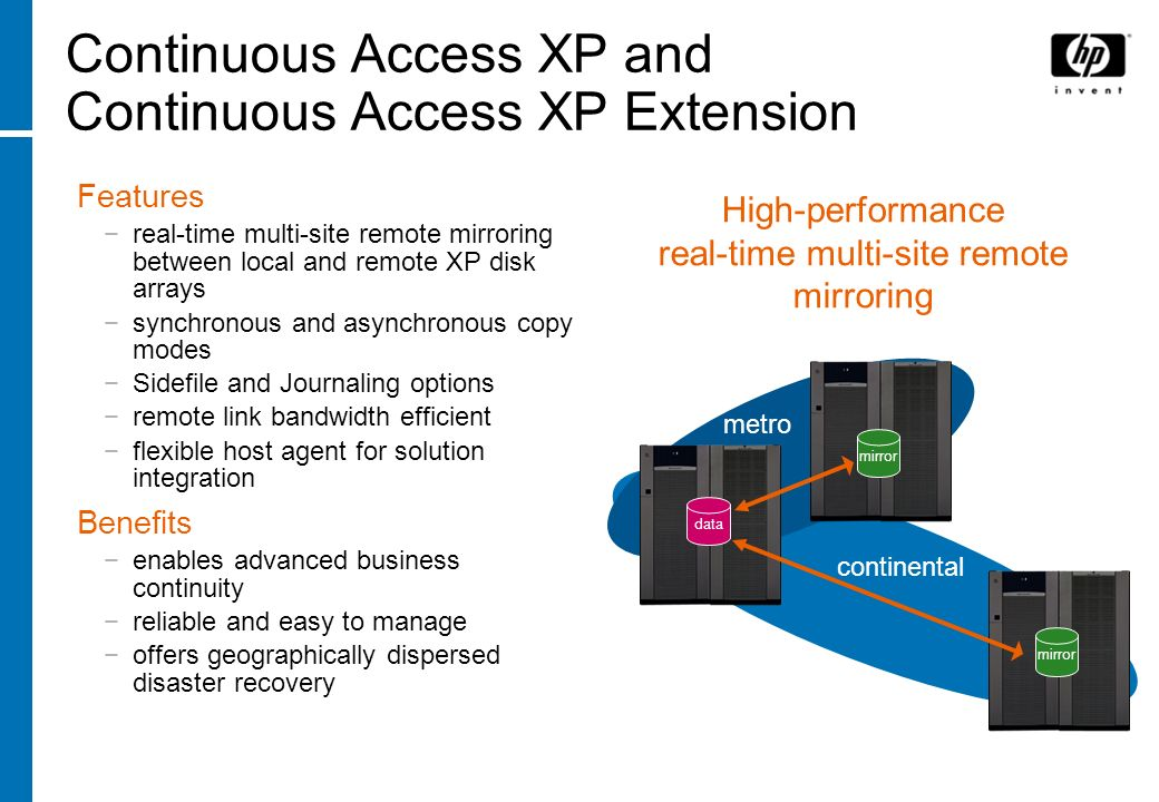 Continuous Access XP and Continuous Access XP Extension Features real-time multi-site remote mirroring between local and remote XP disk arrays synchro