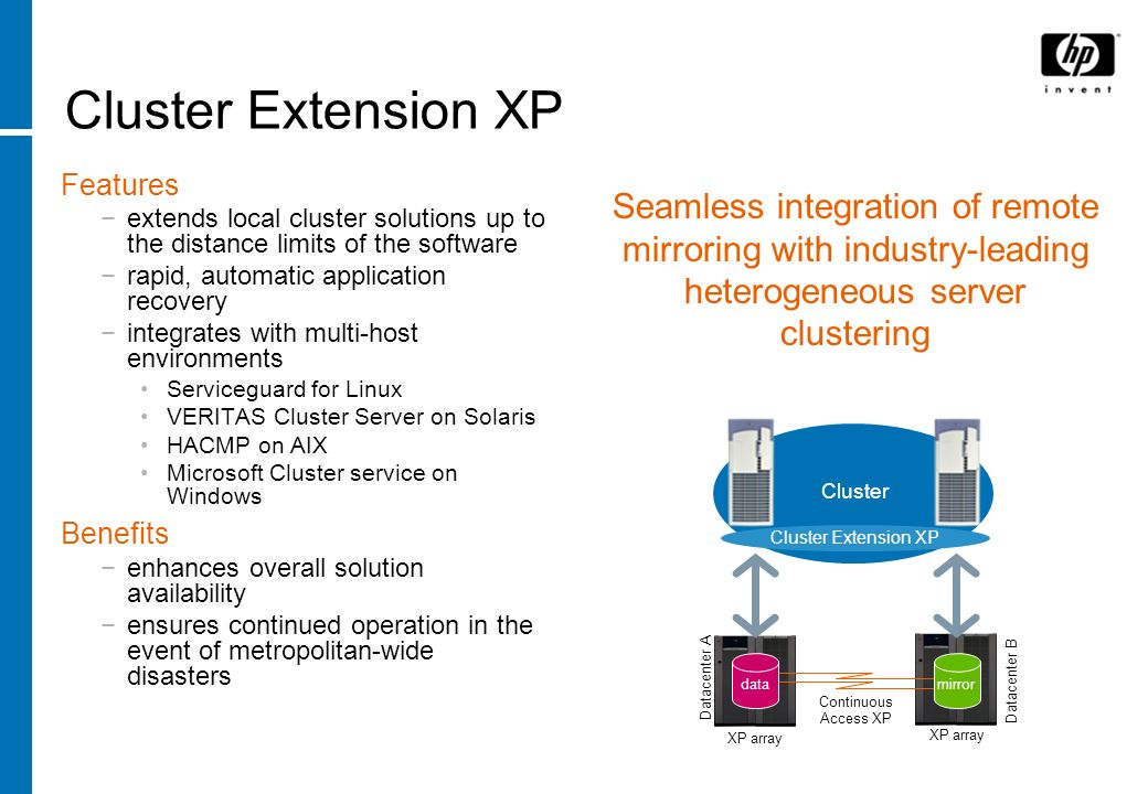 Cluster Extension XP Features extends local cluster solutions up to the distance limits of the software rapid, automatic application recovery integrat