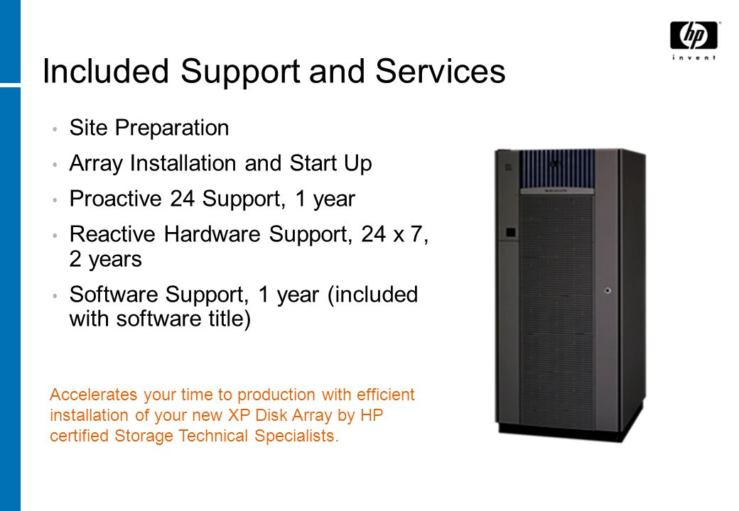 Included Support and Services Site Preparation Array Installation and Start Up Proactive 24 Support, 1 year Reactive Hardware Support, 24 x 7, 2 years
