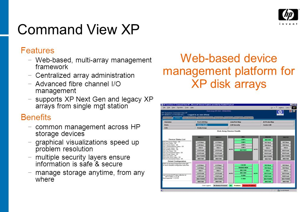 Command View XP Features Web-based, multi-array management framework Centralized array administration Advanced fibre channel I/O management supports X