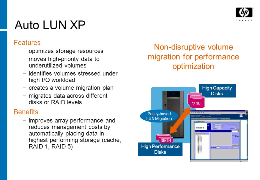 Auto LUN XP Features optimizes storage resources moves high-priority data to underutilized volumes identifies volumes stressed under high I/O workload